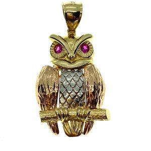 14kt Gold Owl Charm Pendant